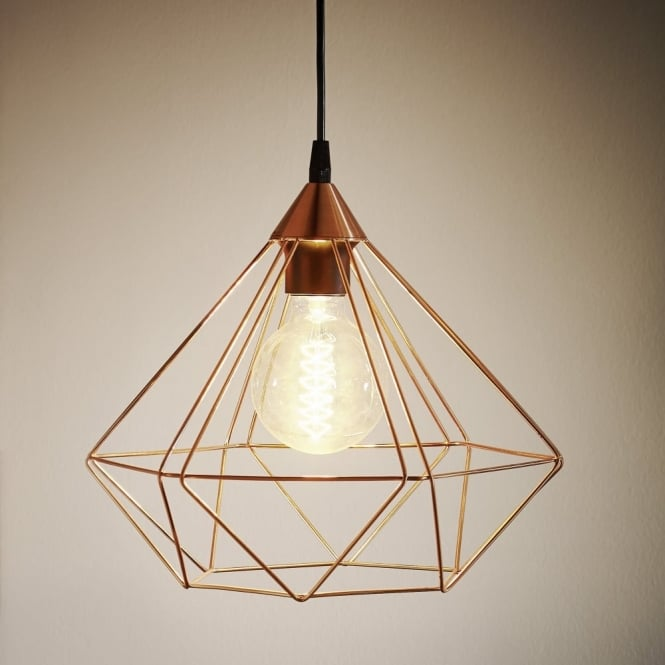 Eglo Tarbes Copper Coloured Cage Pendant Light