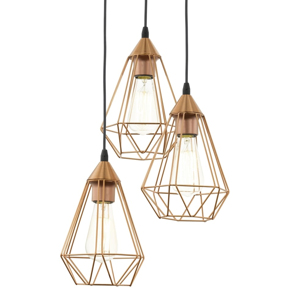 Incroyable Tarbes Copper Coloured Triple Drop Cluster Pendant Light