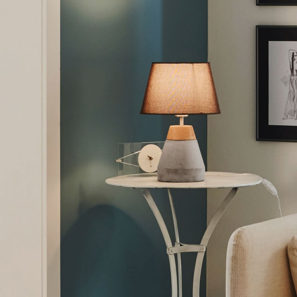 Etonnant Tarega Concrete And Wood Table Lamp