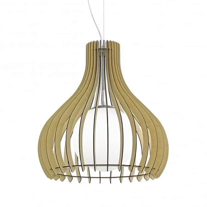 Eglo Tindori Wooden Pendant Light with Glass Diffuser and Maple Finish