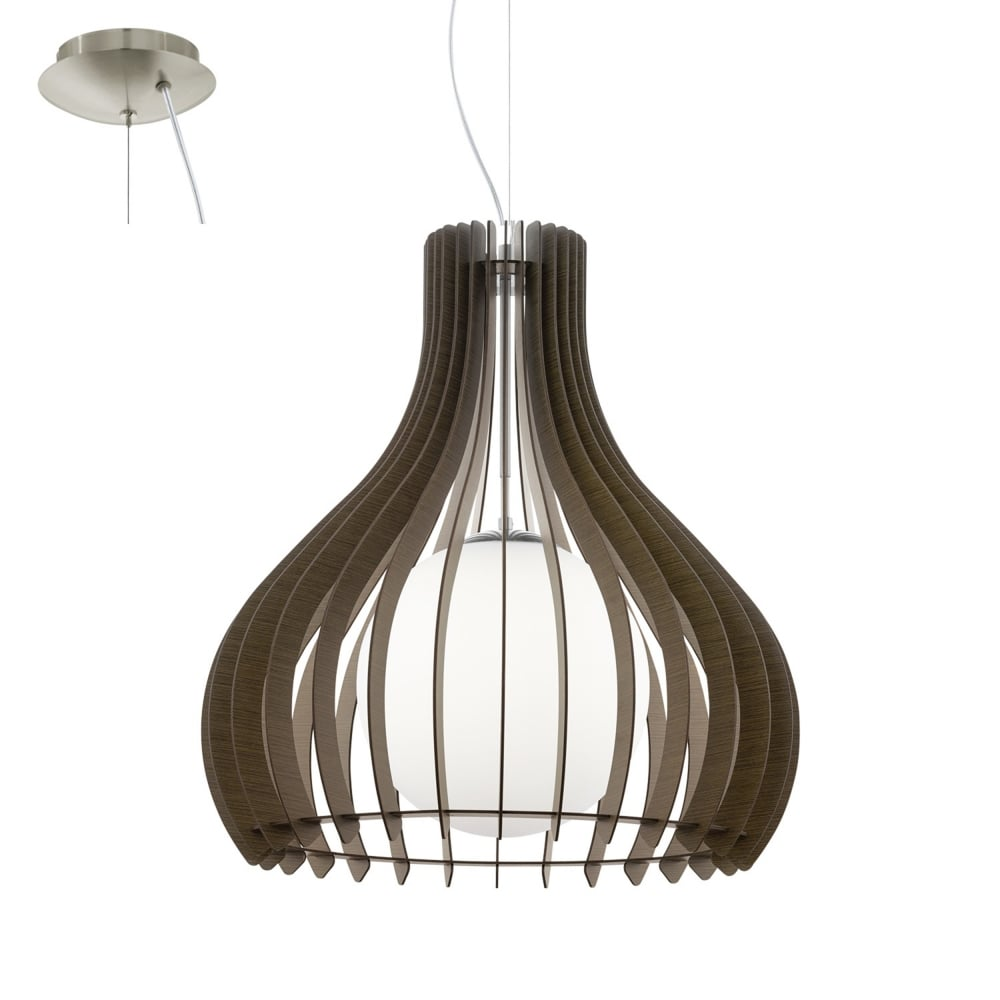 Tindori Wooden Pendant Light With Glass Diffuser