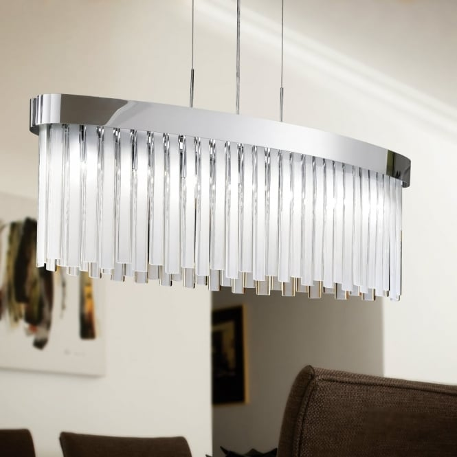 Eglo Tolosa Satinated Glass and Chrome Oblong Pendant