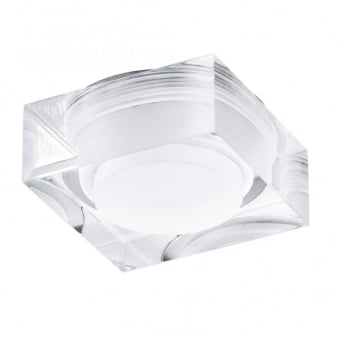Tortoli Square Clear and White Plastic Recessed Downlight