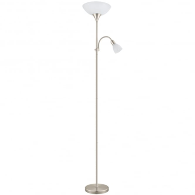 Eglo Up 5 Satin Nickel Floor Lamp with White Shade