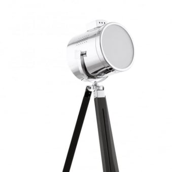 Upstreet Floor Lamp in Dark Wood and Chrome