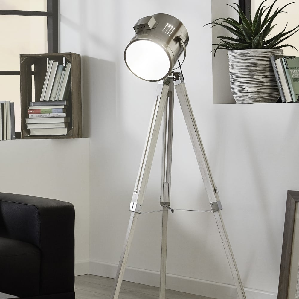 Eglo 94371 upstreet floor lamp in white wood and chrome for Pallas chrome floor lamp
