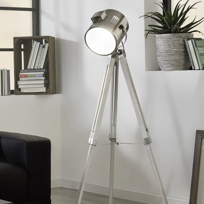 Eglo Upstreet Floor Lamp in White Wood and Chrome
