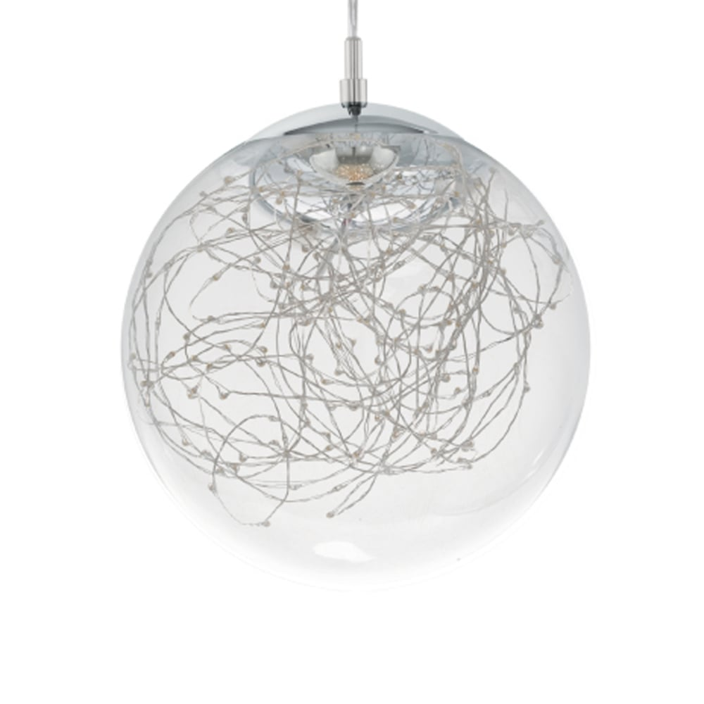 Eglo 49891 valencia led clear glass and chrome ball pendant valencia led clear glass and chrome ball pendant mozeypictures Gallery
