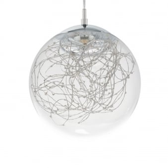 Valencia LED Clear Glass and Chrome Ball Pendant