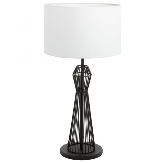 Eglo Valseno White Shade and Black Cage Table Lamp