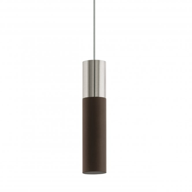 Eglo Villora Single LED Pendant in Antique Brown and Nickel