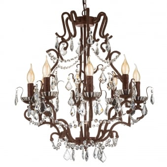West Fenton Crystal and Rust Finish Chandelier Pendant