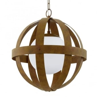 Westbury 1 Rust Coloured Steel Orb Cage Pendant