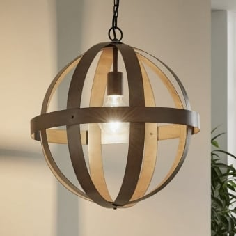 Westbury Large Rust Coloured Steel Orb Cage Pendant
