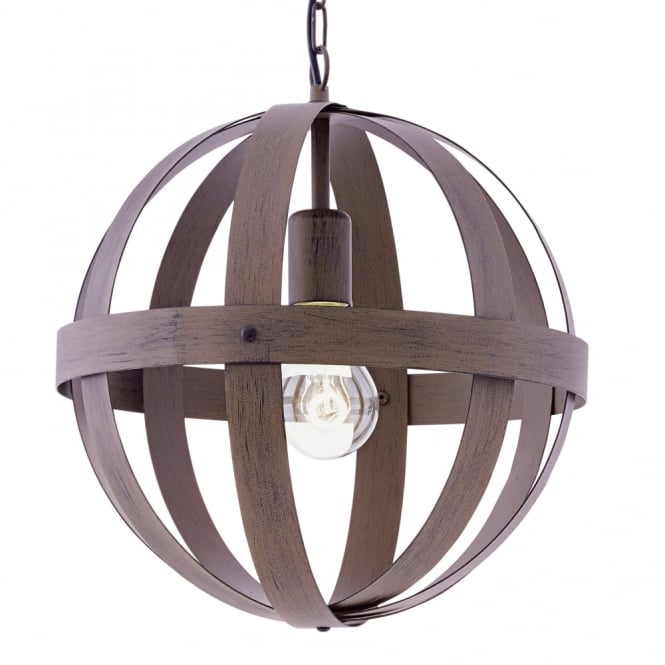 Eglo Westbury Small Rust Coloured Steel Orb Cage Pendant