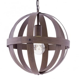 Westbury Small Rust Coloured Steel Orb Cage Pendant