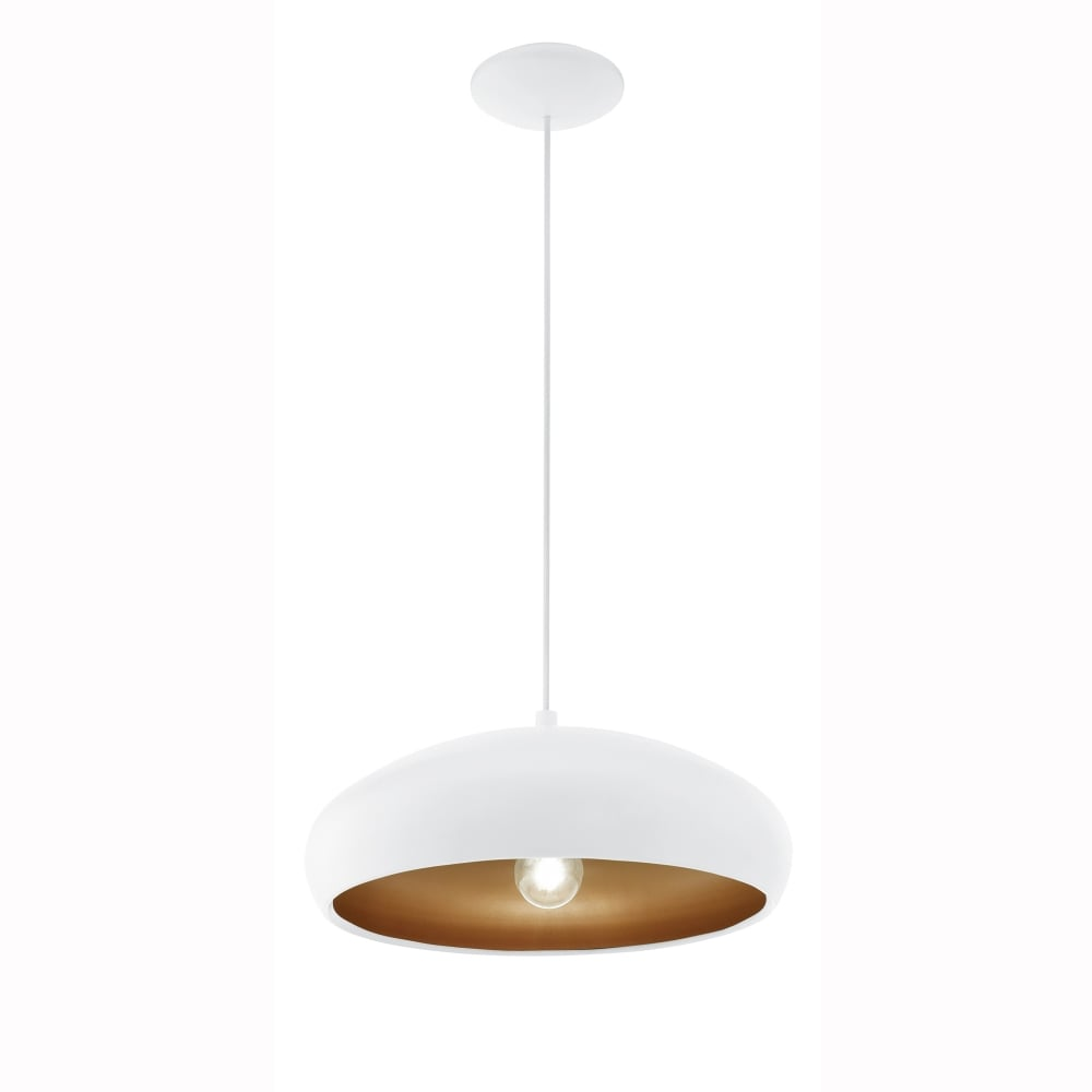 Eglo 94606 White And Copper Mogano 1 Pendant Light