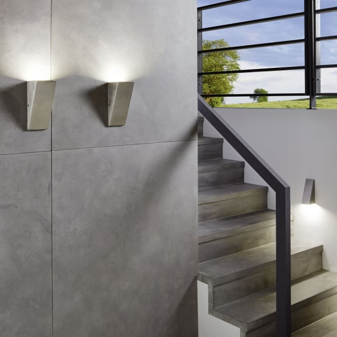 Eglo Zamorana LED Exterior Angular Stainless Steel Wall Light