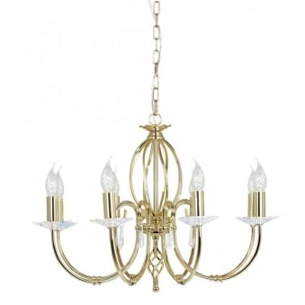 Aegean Eight Arm Polished Brass Chandelier