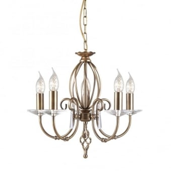 Aegean Five Arm Aged Brass Chandelier