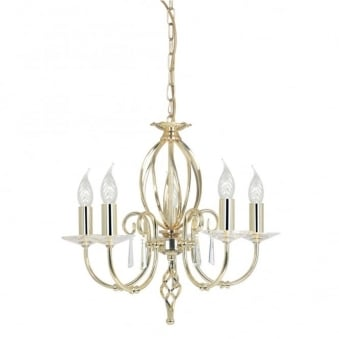 Aegean Five Arm Polished Brass Chandelier