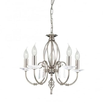 Aegean Five Arm Polished Nickel Chandelier