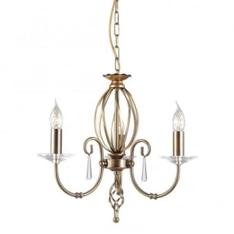 Aegean Three Arm Aged Brass Chandelier