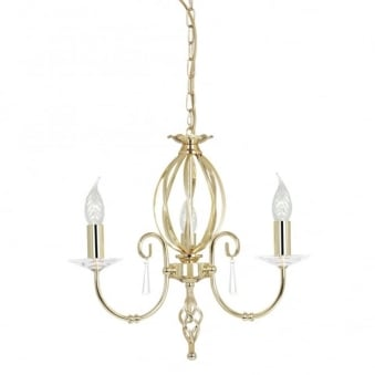 Aegean Three Arm Polished Brass Chandelier