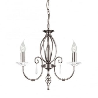 Aegean Three Arm Polished Nickel Chandelier