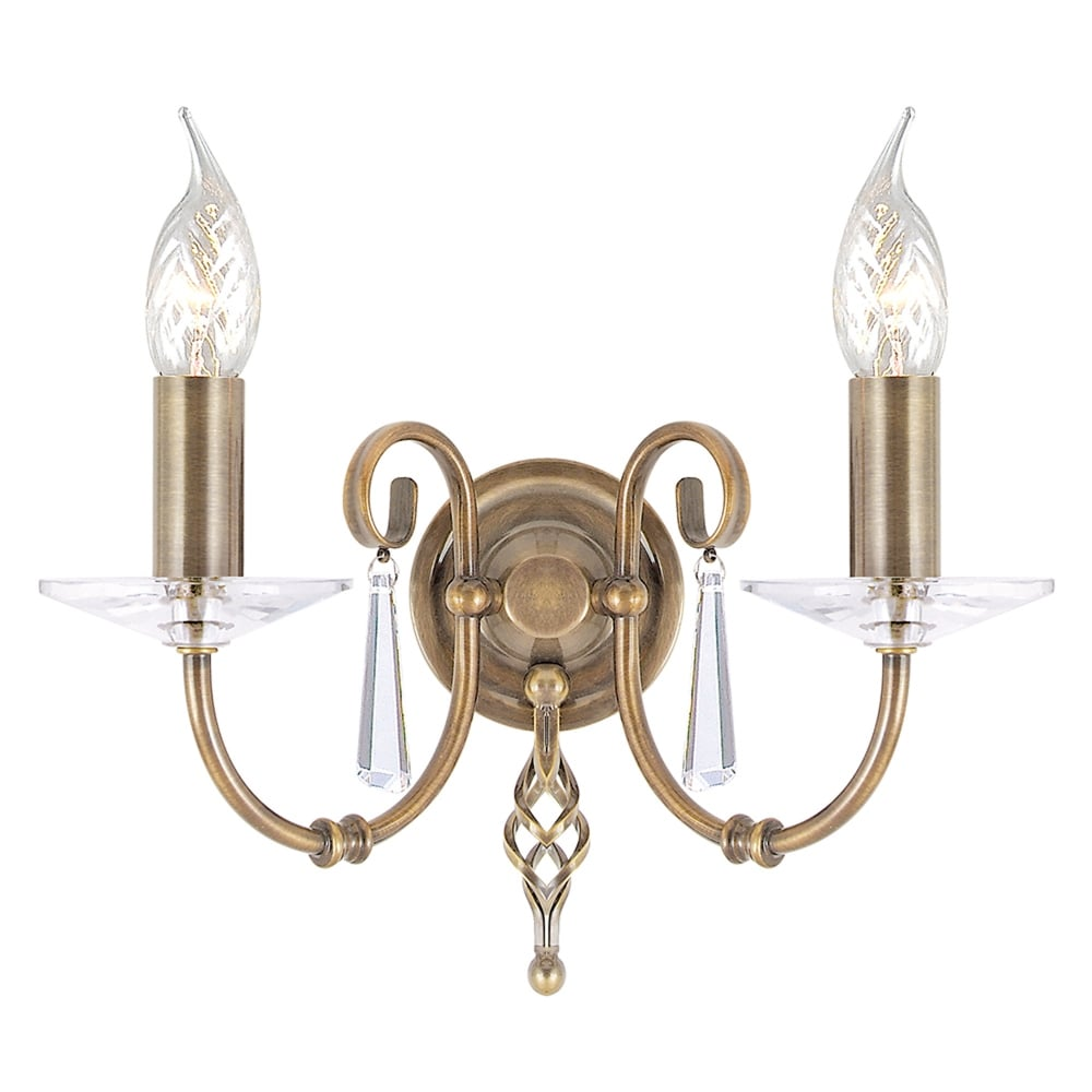 Elstead Lighting Aegean Two Arm Aged Brass Wall Light - Fitting Type from Dusk Lighting UK