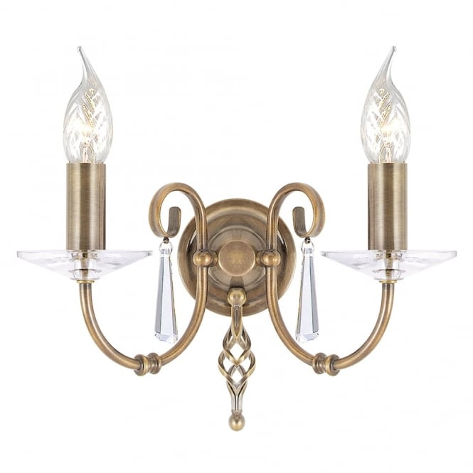 Elstead Lighting Aegean Two Arm Aged Brass Wall Light