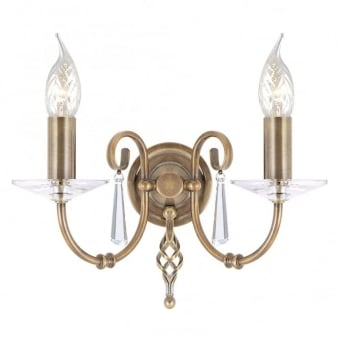 Aegean Two Arm Aged Brass Wall Light