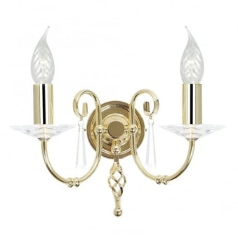 Aegean Two Arm Polished Brass Wall Light
