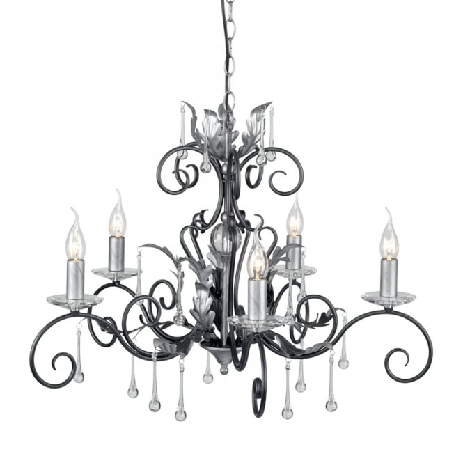 Elstead Lighting Amarilli Black and Silver Five Arm Chandelier