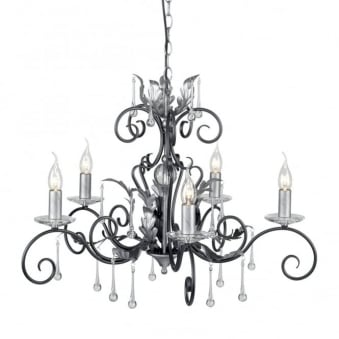 Amarilli Black and Silver Five Arm Chandelier