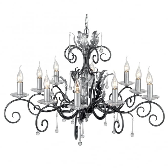 Elstead Lighting Amarilli Black and Silver Ten Arm Chandelier