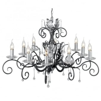 Amarilli Black and Silver Ten Arm Chandelier