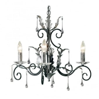 Amarilli Black and Silver Three Arm Chandelier