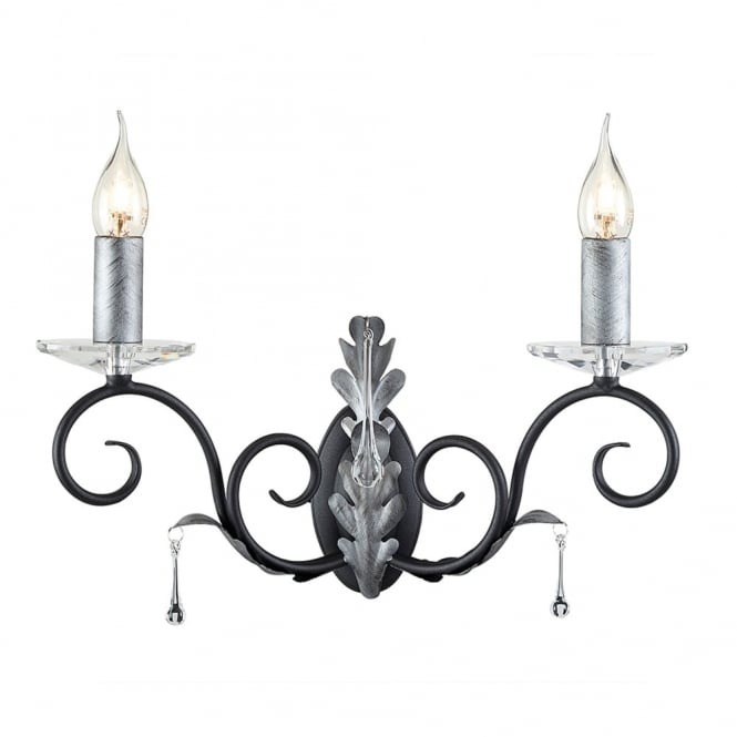 Elstead Lighting Amarilli Black and Silver Two Arm Wall Light