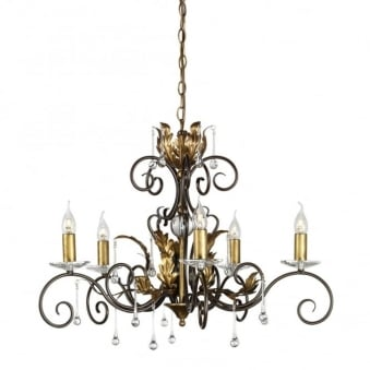 Amarilli Bronze and Gold Five Arm Chandelier