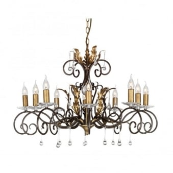 Amarilli Bronze and Gold Ten Arm Chandelier