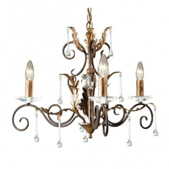 Amarilli Bronze and Gold Three Arm Chandelier