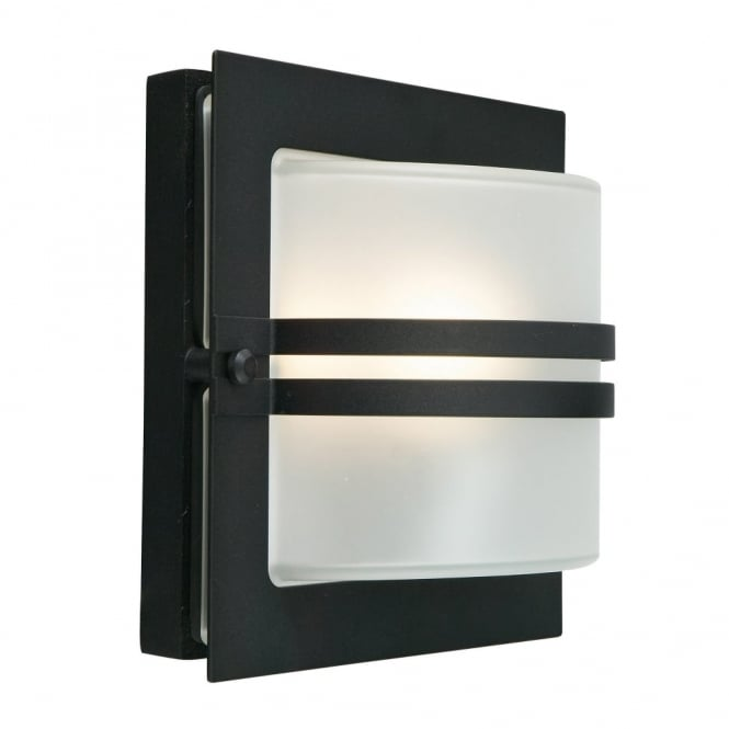 Elstead Lighting Bern Exterior Flush Wall Light in Black with Frosted Opal Lens