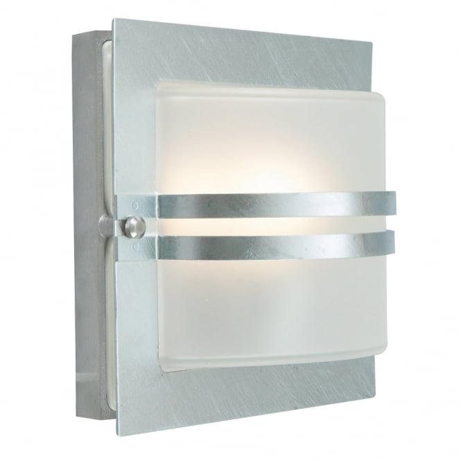 Elstead Lighting Bern Exterior Flush Wall Light in Galvanized Steel with Frosted Opal Lens
