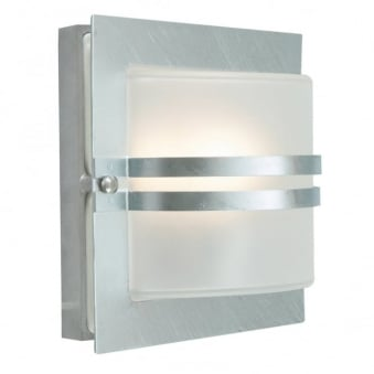Bern Exterior Flush Wall Light in Galvanized Steel with Frosted Opal Lens