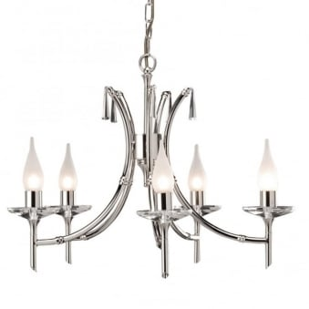 Brightwell Five Arm Polished Nickel Chandelier