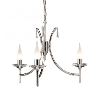 Brightwell Three Arm Polished Nickel Chandelier