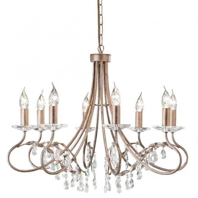 Elstead Lighting Christina Eight Arm Silver and Gold Patina Chandelier