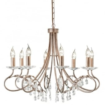 Christina Eight Arm Silver and Gold Patina Chandelier