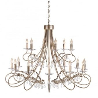 Christina Eighteen Arm Silver and Gold Patina Chandelier